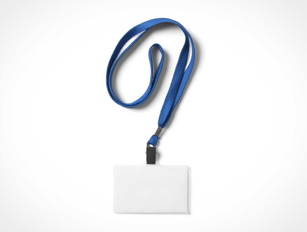 Plastic ID Card Carrier With Lanyard PSD Mockup