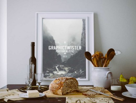 Poster With Wine, Cheese and Bread In Kitchen PSD Mockup