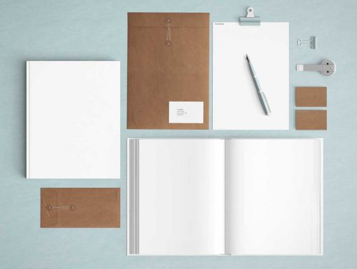 Powderblue Stationery Top View PSD Mockup