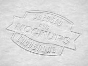Pressed Embossed Cardboard Logo PSD Mockup