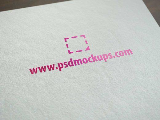 Realistic Colour Logo Print On Paper PSD Mockup