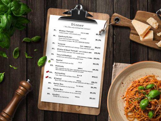 Restaurant Clipboard Menu PSD Mockup