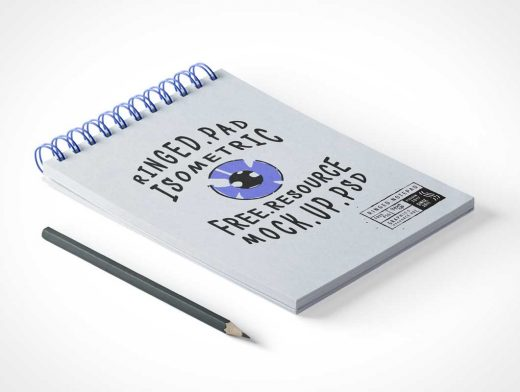 Ringed Sketching Notepad PSD Mockup