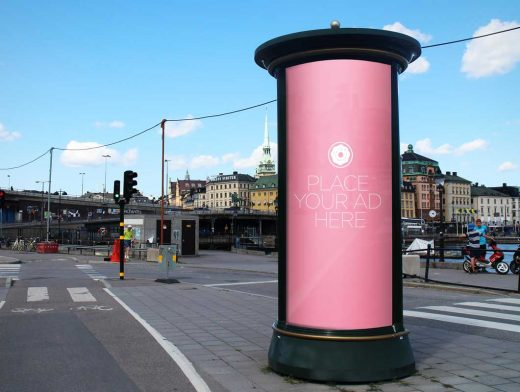 Rounded Tube Totem Billboard PSD Mockup