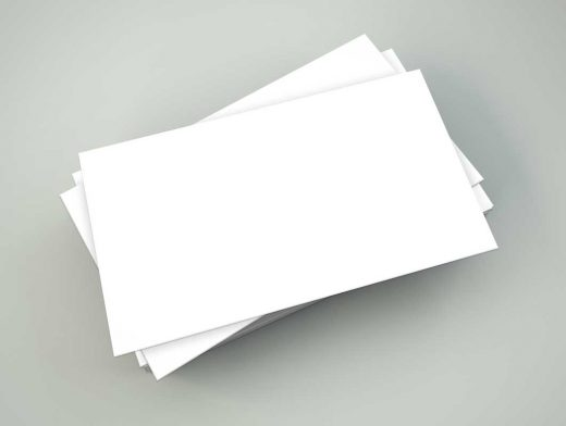 Ruffled Business Card Stack Top View PSD Mockup