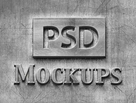 Scratched & Brushed Raised Metal Logo PSD Mockup