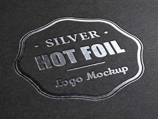 Silver Gilded Stamping Logo PSD Mockup