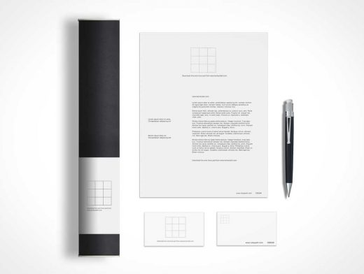 Simple Stationery Company Branding Layout PSD Mockup