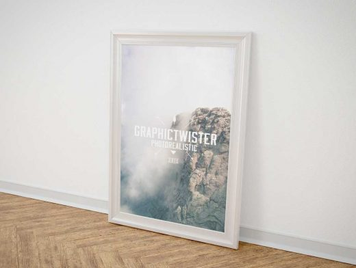Single Picture Poster Frame PSD Mockup