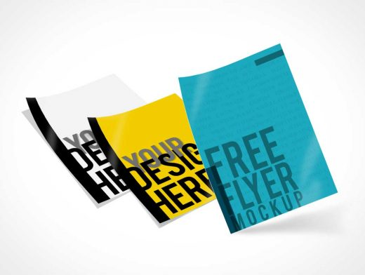 Single Sheet Freeform Flyers PSD Mockup