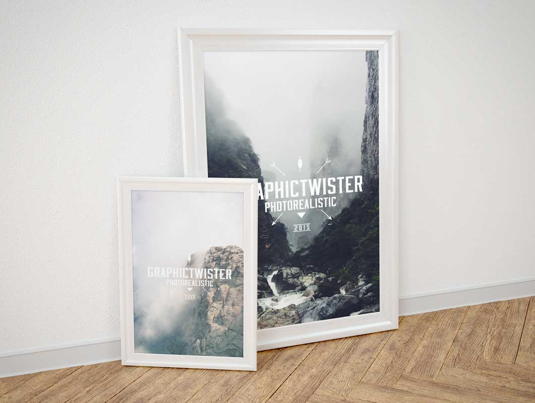 small large poster frame psd mockups