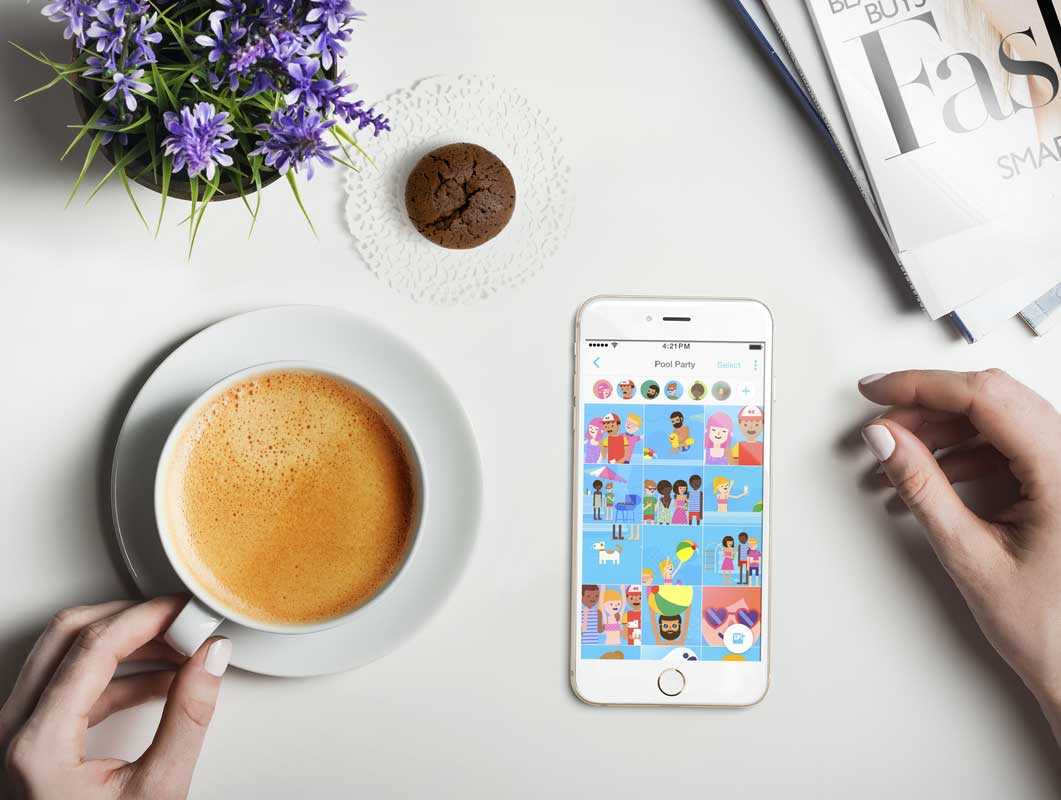 Smartphone, Coffee & Muffin PSD Mockup