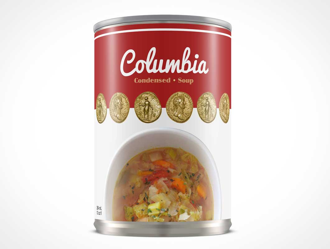 Soup Can Front View PSD Mockup