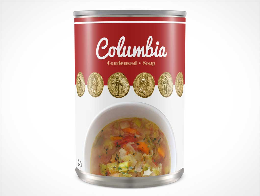 Soup Can Label View PSD Mockup