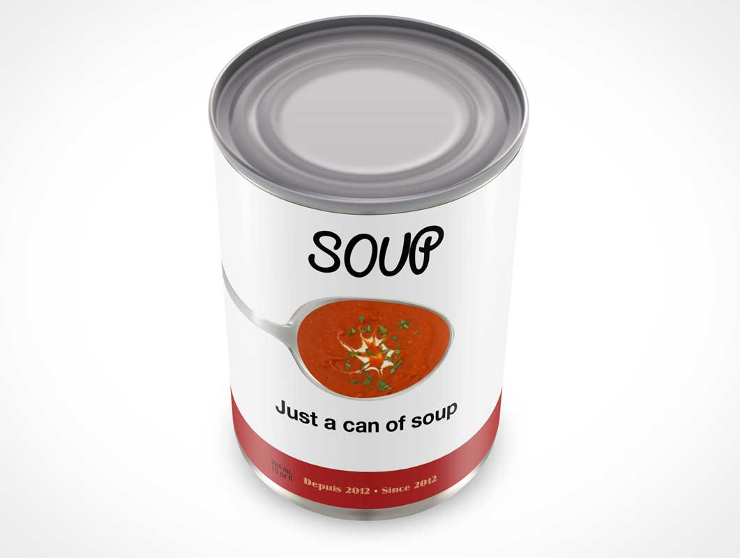 Soup Can Product Shot PSD Mockup