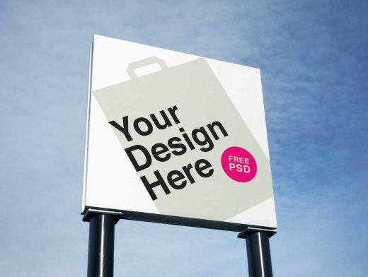 Square Billboard Outdoor Advertising PSD Mockup
