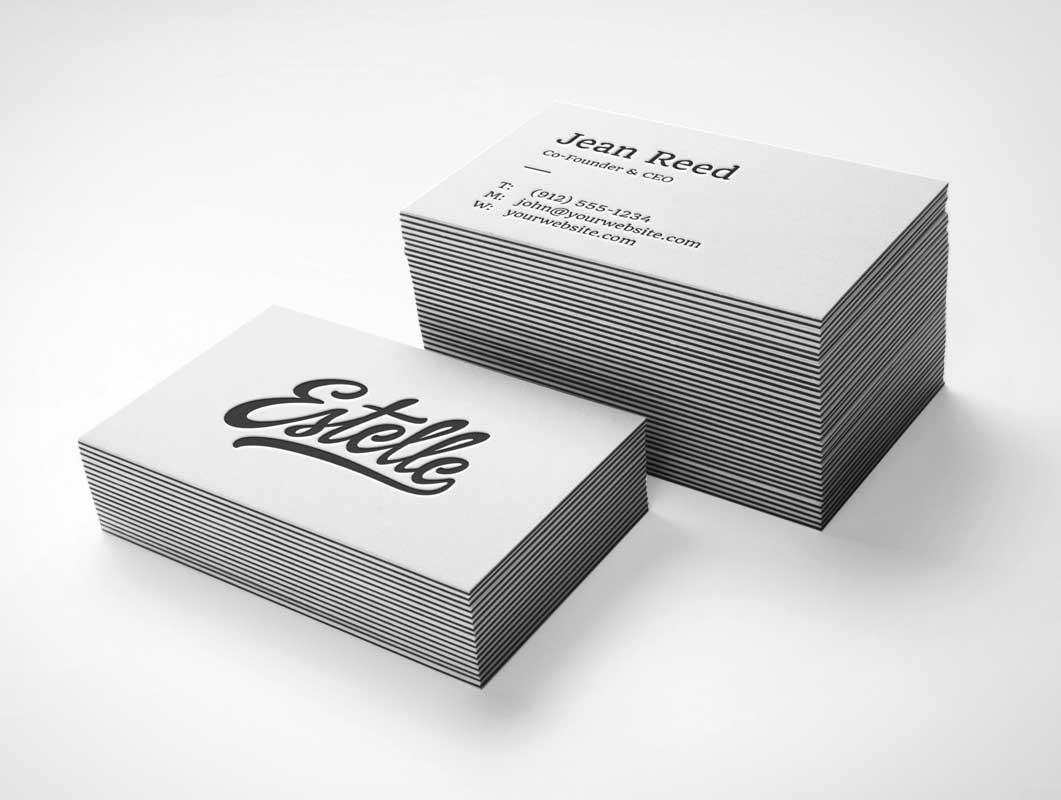 Stack Letterpress Business Cards PSD MockUp