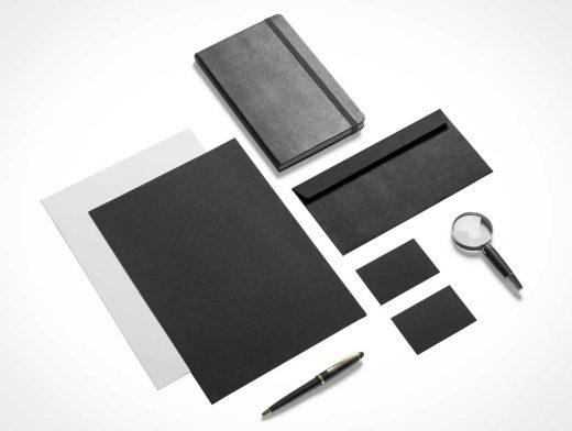Stationery Black & Gold PSD Mockup