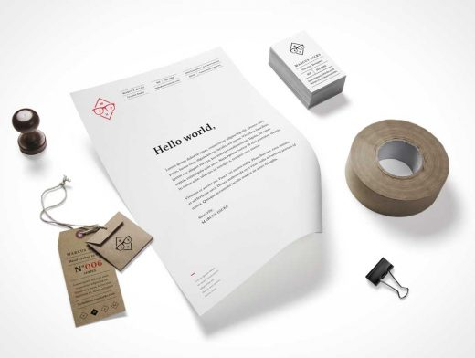 Stationery Branding And Duct Tape PSD Mockup