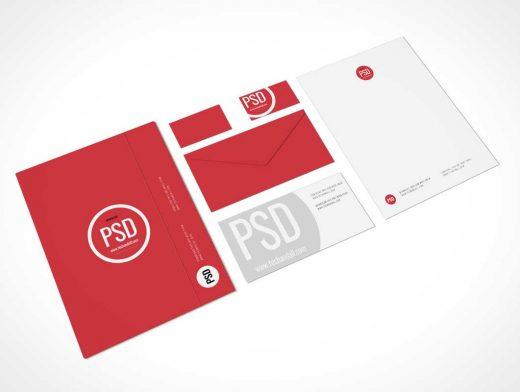 Stationery Branding Perspective Shot PSD Mockup