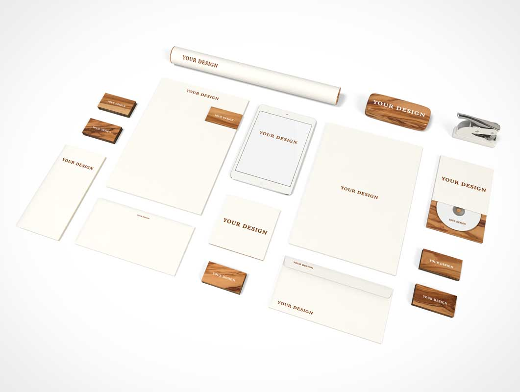 Stationery Branding Wood Theme PSD Mockup