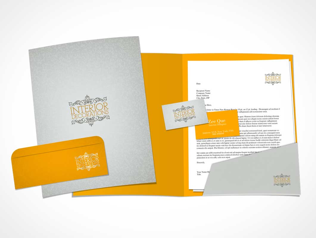 Stationery Letterhead, Business Card, Folder & Envelop PSD Mockup