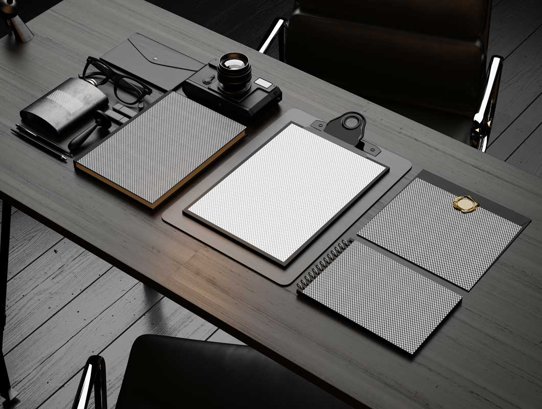 Stationery Office Desk Scene PSD Mockup