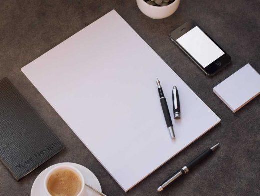 Stationery Realistic Photo Letterhead PSD Mockup
