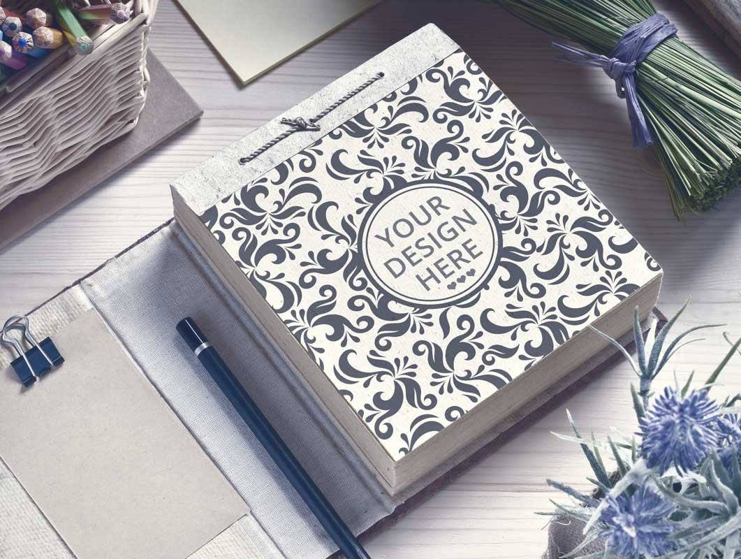 String Bound Notebook With Floral Cover Pattern PSD Mockup
