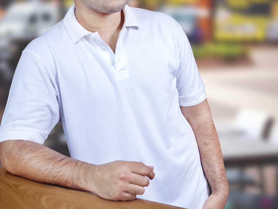 T-Shirt Button Collar Polo Brand PSD Mockup