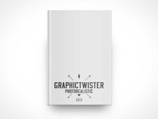 Top View Hardcover Book Front Cover PSD Mockup