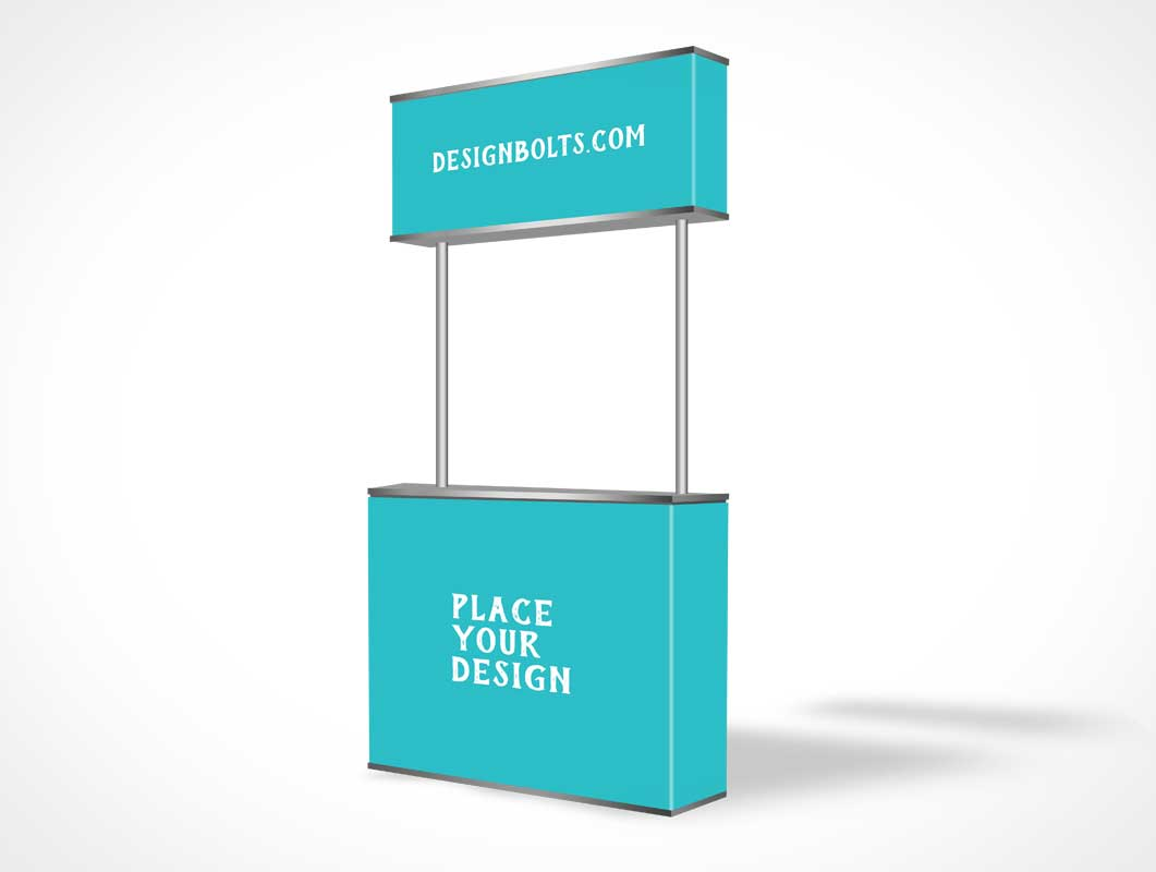 Free Pop Up Exhibition Stand Mockup : Booth psd mockups
