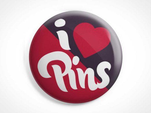 Vector Shape Button Badge Pin PSD Mockup