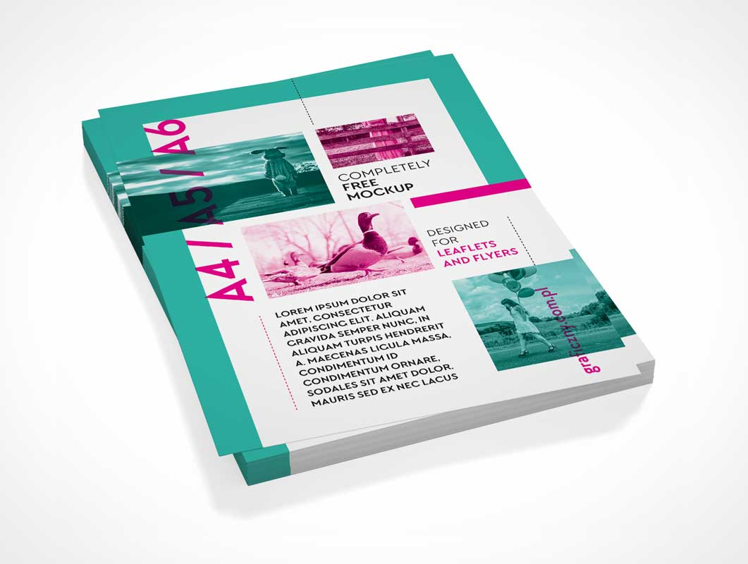 Vertical Leaflet Letterhead Stack Pile PSD Mockup