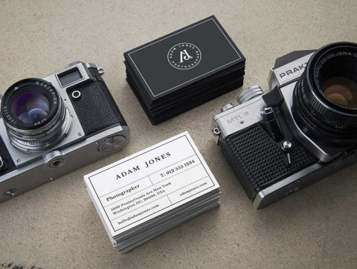 Vintage Cameras & Business Cards PSD Mockup