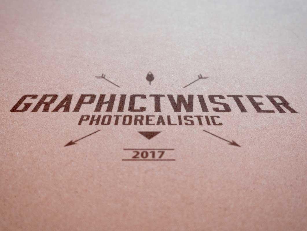 Vintage Fiber Paper Printed Logo PSD Mockup