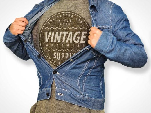 Vintage Jean Shirt Fashion Chest Logo PSD Mockup