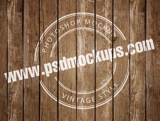 Vintage Logo Badge Printed On Deck Boards PSD Mockup