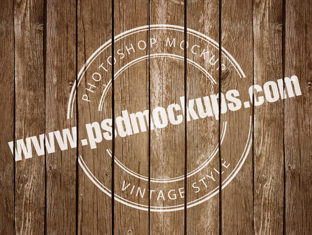 Vintage Logo Badge Printed On Deck Boards PSD Mockup