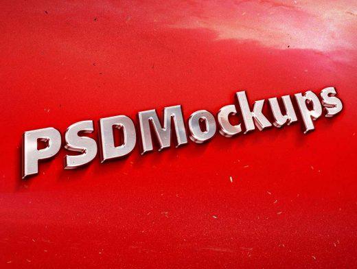 Vintage Metal Emblem PSD Mockup