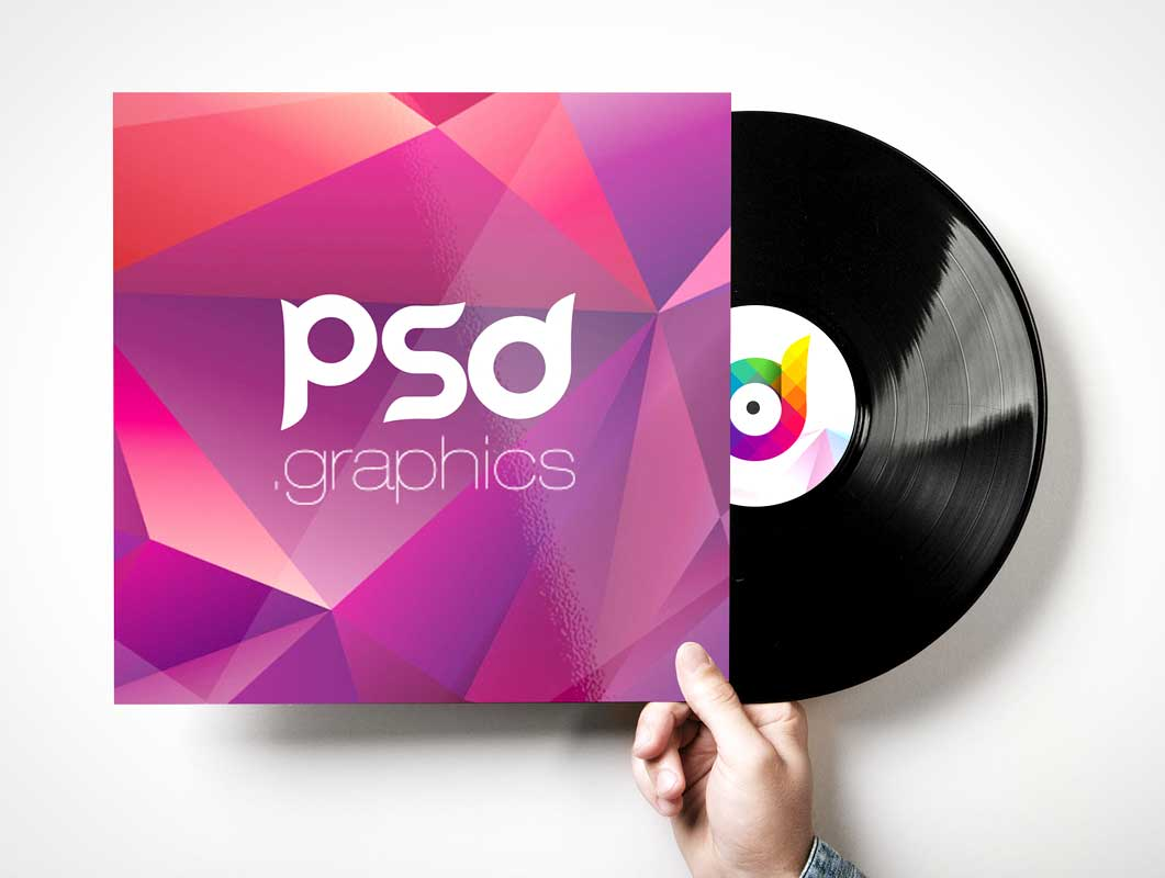 Vinyl Record & Album Sleeve Cover PSD Mockup