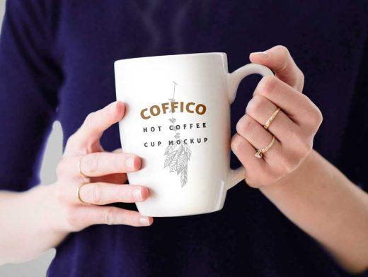 Woman Holding Ceramic Coffee Mug PSD Mockup