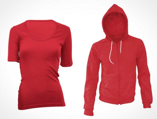 Woman's T-Shirt & Hoodie PSD Mockups