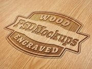 Wood Engraved Logo PSD Mockup