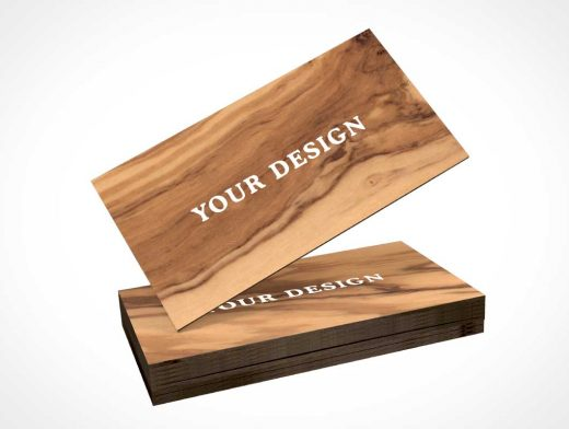 Wooden Business Card PSD Mockup