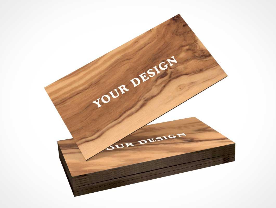 Wooden Business Card PSD Mockup - PSD Mockups