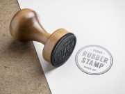 Wooden Rubber Ink Stamp PSD Mockup