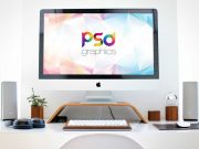 iMac Workspace Station Desk PSD Mockup