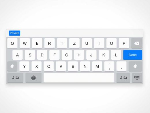 iPad Retina Screen Keyboard PSD Mockup
