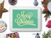 iPad Winter Holidays Christmas Scene PSD Mockup